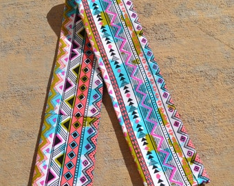 Aztec Print Camera Strap Cover. Padded SLR or DSLR Camera Strap Cover. 2 Lens Cap Pockets.