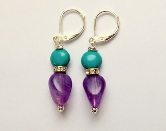 Teal and Purple Beaded Earrings On Silver Leverbacks