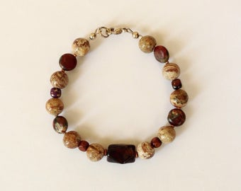 Mens Brown Beaded Bracelet 8 3/4 Inches