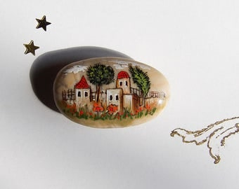 Handpainted Magnet Pebble, Fridge Desktop Car Small Magnet, Original Acrylics Miniature Landscape