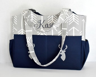 Personalized Diaper Bag in Gray Arrows and Navy Blue with Embroidered Deer for Boy or Girl
