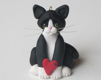 Black Tuxedo Cat Valentines Christmas Ornament Polymer Clay Art Sculpture Handcrafted