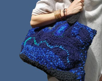 Yarn Bag, Crochet bag, Tote, Handmade bag, Handbag, Shoulder Knitted Bag, Tote  Yarn Knitted bag, Hobo bag, Shoulder bag