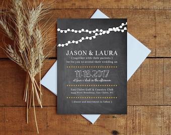 Chalkboard Wedding Invitation, Wedding Invite, Wedding Invitation Set, Lights Wedding, Printable Invitation