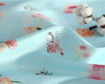 Blue Flowers and Birds Fabric, Polyester Fabric, Korean Hanbok Fabric - By the Yard 97080