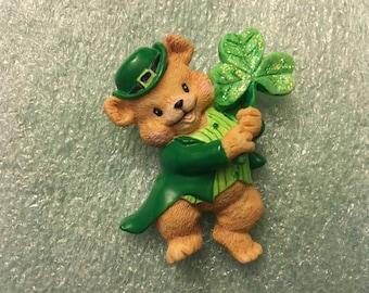 Vintage St. Patrick's Day Russ Brand Acrylic Luck 'O the Irish Bear Pin