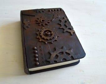 Handmade steampunk wooden book  box, secret drawer, trinket case, jewelry case, presentation box, gift box
