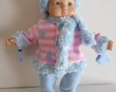 Pink and Blue furry fleece  winter coat set with pants, mittens, scarf, and hat fits Bitty Baby/ Bitty Twins  15 inch baby dolls.