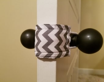 Grey Chevron Door Silencer, door muff, baby room, door bumper, crochet door stopper,door latch,nursery door silencer, LATCHY CATCHY