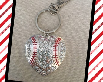 Baseball Heart Key Chain