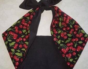 black cherry black  rockabilly  bandana,  rockabilly pin up psychobilly  hairband headband