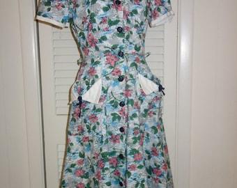 SALE Vintage 40s Floral Novelty Print Cotton Dress Looks Unworn