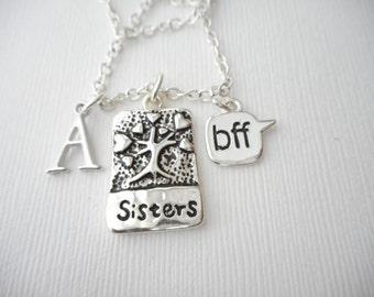 Sisters, BFF- Initial Necklace/ Sisters Jewelry, Sibling Jewelry, inspiration, sisterly love, love for sister, Gift for Sister