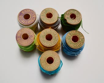vintage wooden spools of thread, Belding Corticlli