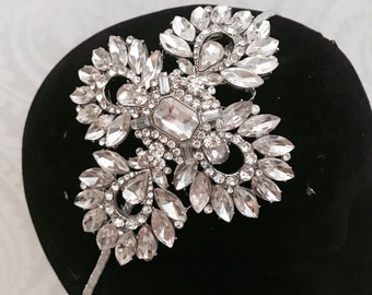Bridal Headpiece - statement headpiece , bridal headband , Bridal Tiara , Bridal hair accessory , crystal headpiece , Silver headdress .