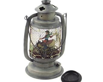 Ride Em Cowboy - Buckin Bronco Candle Lantern - Vintage Lighting - Lasso Trim - Southwestern Saguaro Cacti Candleholder Home Decor