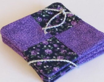 Coaster Set Quilted Weave With Inner Layer Of Batting And Reversible Back
