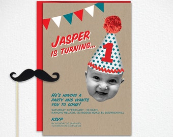 Printable 1st Birthday Invitation in Red and Turquoise