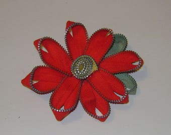 Vintage Red and Green Zipper Flower Brooch