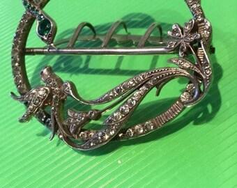 Victorian diamond & emerald paste snake and bird buckle beautiful