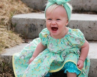 Bunny Easter outfit -  Baby Easter Outfit - Infant Girl 2 Piece Outfit - Peasant Dress - Spring Dress - Girls Ruffle Dress - Floral Dress