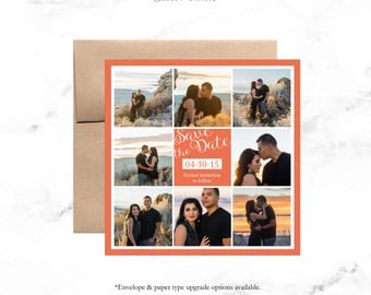 Save the Date Wedding Invitation / Multiple Photo Background / Invite Wedding or Shower DESIGN / Custom Color / DIY Printable
