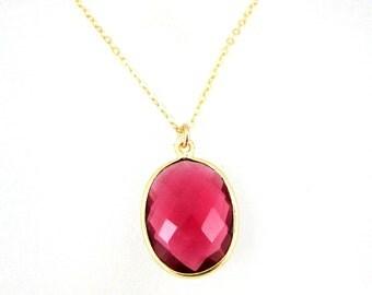 July Birthstone Necklace - Bezel Gemstone Oval Pendant Necklace - Gold Plated Sterling Silver Chain - Rubylite Quartz - 611103-RLQ