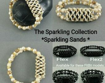 Bracelet for FitBit FLEX, FLEX2, ALTA, Alta2 or Charge2! *Sparkling Sands* Off-White, Silver,Stretch,Free Resizing!*