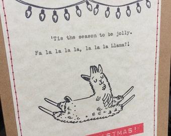 Llama Christmas card fa la la la llama card funny Christmas card