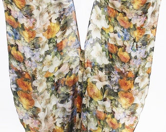 Pure Silk Floral Bouquet Full Length Wrap Kimono Crossover Kaftan by LaMolli