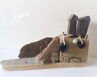 Hastings Huts - Driftwood Art, Driftwood House, Driftwood Beach Hut, Driftwood Scene, Nautical Decor
