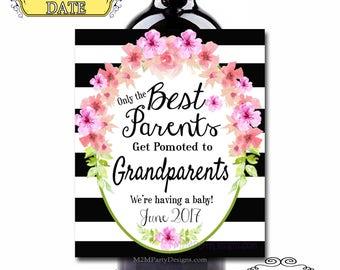 Pregnancy Announcement. Wine Labels, Pregnancy Announcement Gift,Grandparents Set of 4 Digital file