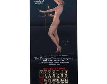 Pinup Calendar 1941, Sexy Blonde Nude Model Art