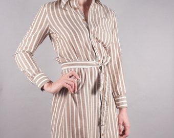 70s Taupe White Striped Shirt Dress w Tie Belt