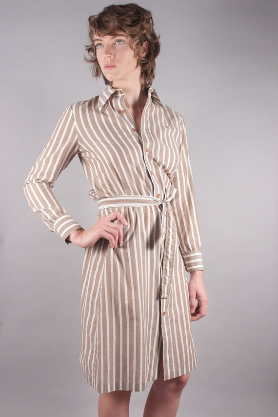 70s Taupe White Striped Shirt Dress w Tie Belt