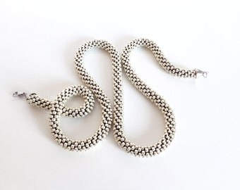 Rope Necklace // Long rope necklace // Silver Necklace // Aluminum Necklace // Beaded Crochet // Statement Necklace // Gift idea