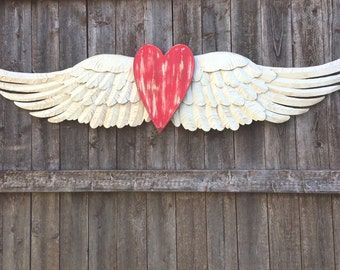 "Large Angel Wings Wall Decor - White Shabby Chic Metal Wings - 48"" Wide - Victorian"