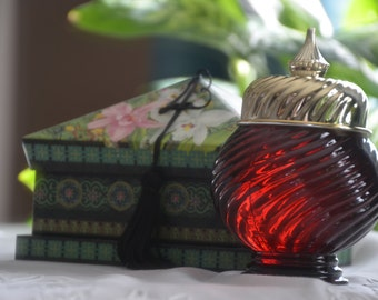 Vintage Avon Scent of Roses Gelée-Scarlet/Ruby Red-Elegant Counter Top Display-Hostess-Powder Room-Mother's Day Present-New Old Stock-NIB