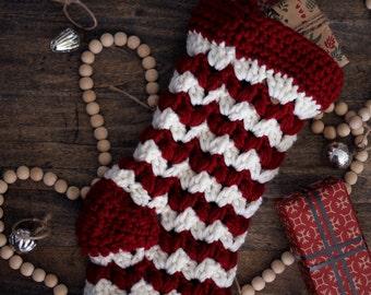 Red Crochet Holiday Stocking. Christmas Decor, Red and Cream Knit Style Stocking. Chunky Stocking Handmade.