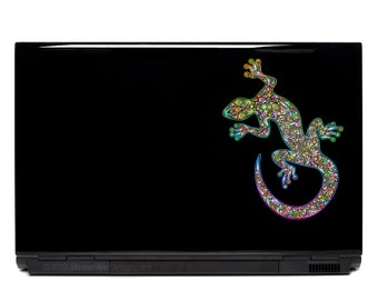 Gecko Ornate Vinyl Laptop or Automotive Art FREE SHIPPING decal laptop notebook art sticker ornate detailed colorful lizard gecko skink