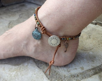 Sand Dollar Anklet Seahorse Anklet Seahorse Jewelry Sand Dollar Jewelry Bohemian Anklet Bohemian Jewelry Beach Boho Leather Anklet