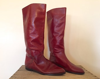 Vintage Red Leather Boots / Women's Size 10 N / Colo Boots