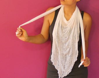 Shredded White Triangle Scarf ~ slowshine