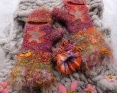 Warm mittens for winter Felted gloves made from hand spun yarn Wool and alpaca Fingerless with mohair