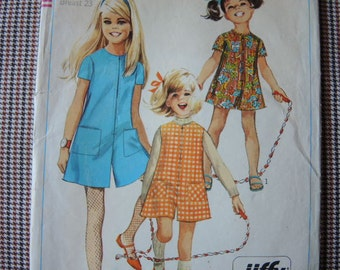 vintage 1960s Simplicity sewing pattern 7406 girls Jiffy pantdress or pantjumper size 4