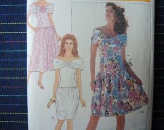 vintage 1980s Butterick sewing pattern 6444 misses dress Richard Warren size 6 8 10