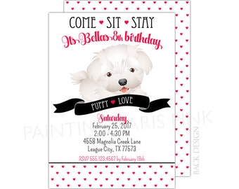 Puppy Love Birthday Party Invitation | Printable OR Professionally Printed | 5x7 | Puppy Paw-ty