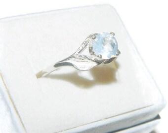 Blue Moonstone Ring, Leaf Ring, Sterling Silver Engagement Ring, Blue Quartz Ring