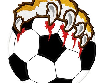 Tiger Paws Soccer, Applique Embroidery Design,  4 sizes  INSTANT DOWNLOAD