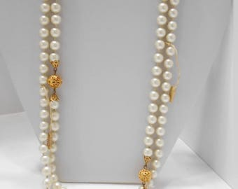 """Vintage 54"""" Faux Pearl Necklace, Japan (5117) Individually Knotted, 8mm"""